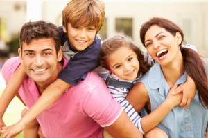 Happy family with outstanding oral health from their horsham family dentist